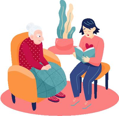 žena čita starici u domu